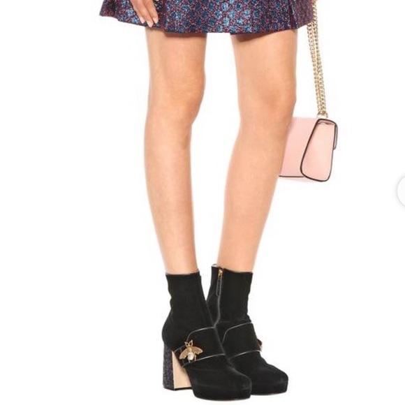 Gucci Soko Glitterheel Bee Velvet Ankle